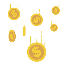 gold coins falling down with line speed vector image