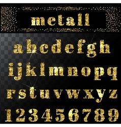 gold glitter alphabet Hand drawn letters vector image vector image