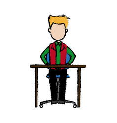 Man sitting business office desk chair vector