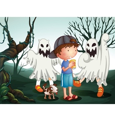 A boy and his pet at the graveyard with ghosts vector image vector image