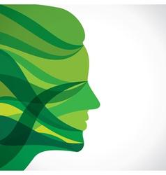 abstract green women face vector image