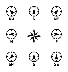 black wind rose icons set vector image