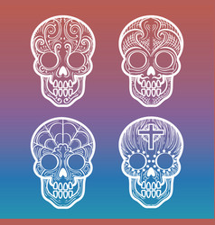 calavera skull on colorful background vector image vector image