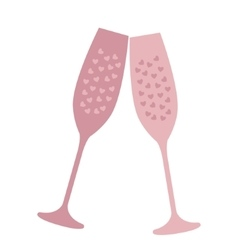 Champagne glass with heart-shaped bubbles vector image vector image