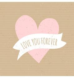 cute pink heart cardboard paper wedding design vector image