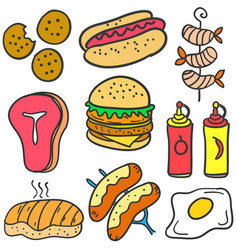 Doodle of food various element vector