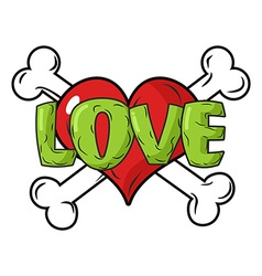 Love to death Symbol is red heart and crossbones vector image vector image