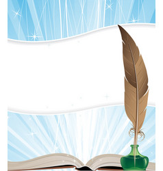 Open book and feather vector