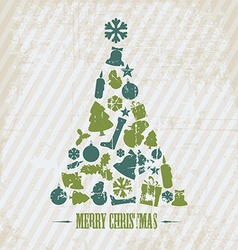 Vintage Grunge Christmas tree vector image vector image