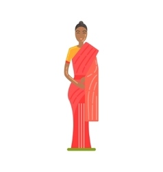 Woman In National Costume Wearing Red Sari Famous vector image vector image