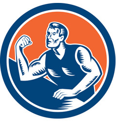 Arm Wrestling Champion Woodcut Circle vector image vector image