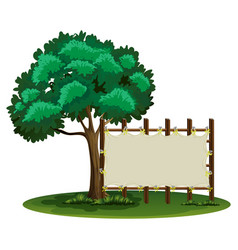 blank sign beside the tree vector image vector image