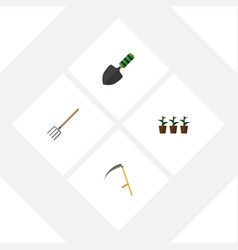 flat icon dacha set of flowerpot hay fork cutter vector image vector image
