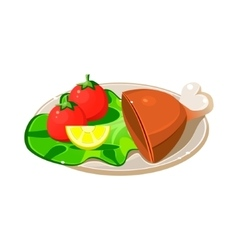 Breakfast plate with ham lettuce and tomatos vector