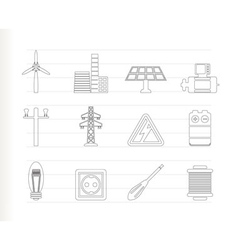 electricity and power icons vector image vector image