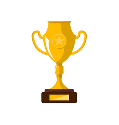 golden trophy cup on wooden stand vector image