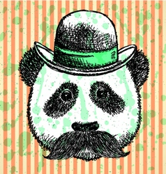 Hat Panda Mustache vector image