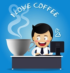man working on computer with big coffee cup vector image vector image