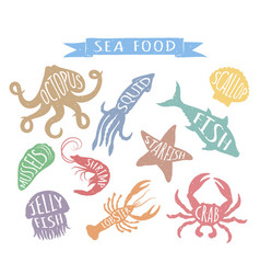 seafood hand drawn colorful vector image vector image