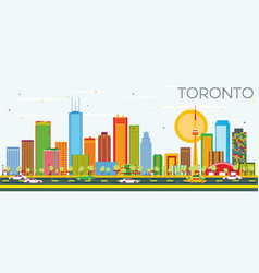 toronto skyline with color buildings and blue sky vector image