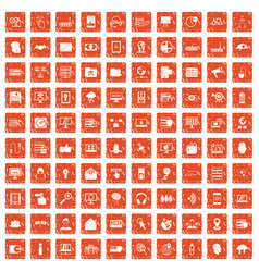 100 cyber security icons set grunge orange vector