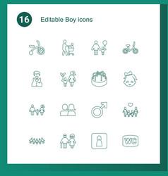16 boy icons vector