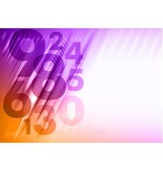 abstract numbers corner orange purple vector image