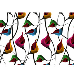 African wax print fabric ethnic floral motifs vector