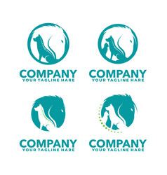 Animal medical logo horse dog and cat logo vector