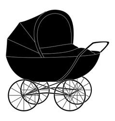 Baby pram black silhouette vector