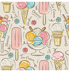 Background with ice cream and bonbons vector