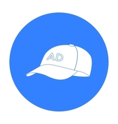 Baseball cap advertising icon in black style vector