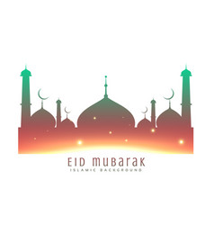 beautiful mosque silhouette colorful background vector image