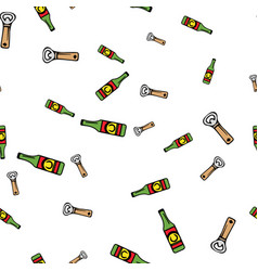 beer and opener pattern seamless vector image