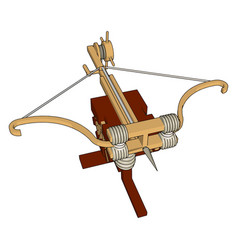 Big medieval crossbow on white background vector