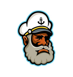 Black sea captain or skipper mascot vector