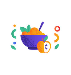 bowl of healthy food and apple fitness vegan or vector image
