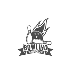 bowling emblem label badge and designed elements vector image