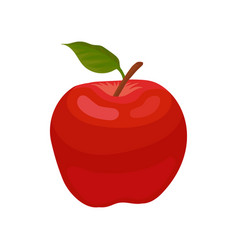 bright red apple with little green leaf natural vector image