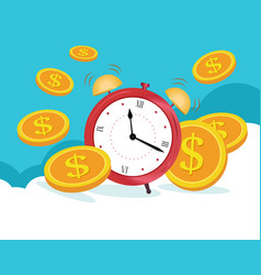 Business concept clock is coins on blue clouds vector