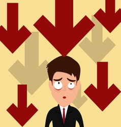 Business failure Down trend graph make worried vector image