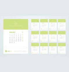 Calendar template for 2018 year vector