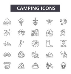 camping line icons for web and mobile design vector image