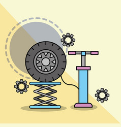 car service maintenance pump auto wheel vector image