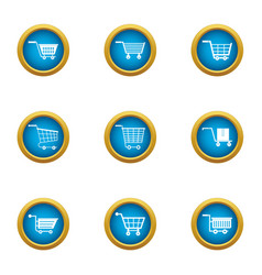 Cart icons set flat style vector