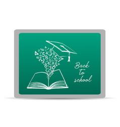 chalk drawn objects on green chalkboard set vector image
