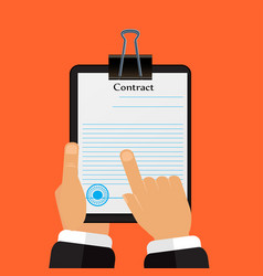 check the contract his hands in a flat style vector image