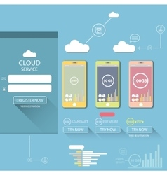 Cloud services mobile flat web infographic vector