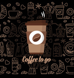 Coffee to go icon paper cup icon for web and vector