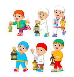 collection of moslem kids holding lantern vector image